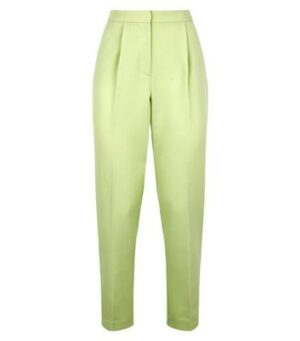 Green Neon High Waist Slim Leg Suit Trousers New Look