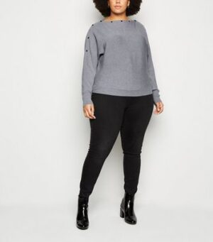 Apricot Curves Pale Grey Popper Jumper New Look