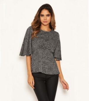AX Paris Black Spot Satin Top New Look