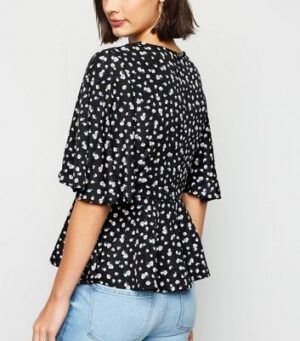AX Paris Black Ditsy Floral Peplum Top New Look