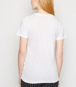 White Asterisk Face Palm Slogan T-Shirt New Look