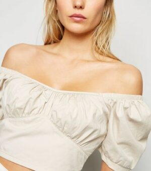 Stone Puff Sleeve Crop Top New Look