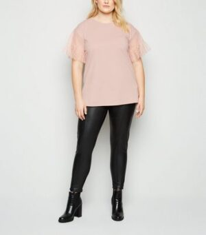 Curves Pale Pink Spot Mesh Sleeve T-Shirt New Look