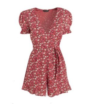 Pink Floral Puff Sleeve Wrap Playsuit New Look