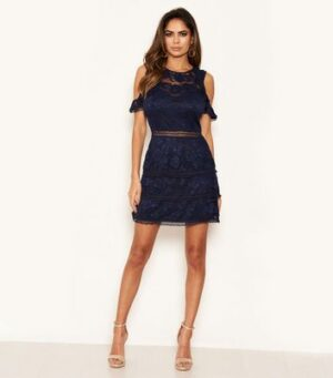 AX Paris Navy Lace Tiered Cold Shoulder Dress New Look