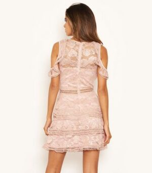 AX Paris Pink Lace Tiered Cold Shoulder Dress New Look