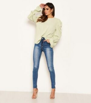 AX Paris Green Puff Sleeve Top New Look