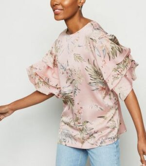 AX Paris Pink Tropical Leaf Ruffle Trim Top New Look