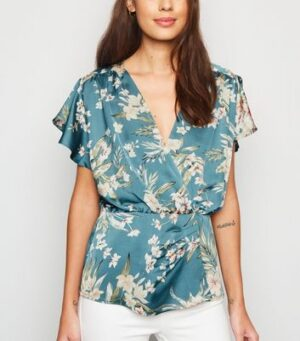 AX Paris Blue Floral Satin Top New Look