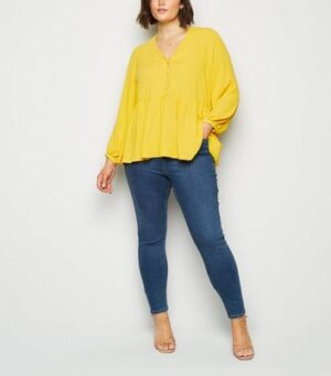 Curves Pale Yellow Peplum Blouse New Look