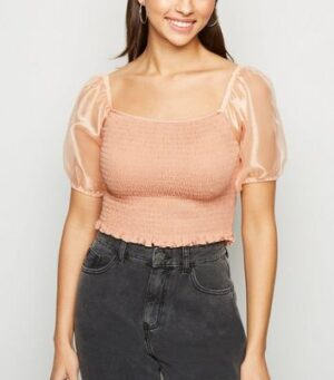 Noisy May Pale Pink Organza Puff Sleeve Top New Look