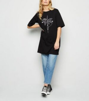 Noisy May Black Atlas Print Oversized T-Shirt New Look