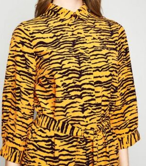 Yellow Tiger Print Belted Longline Shirt New Look
