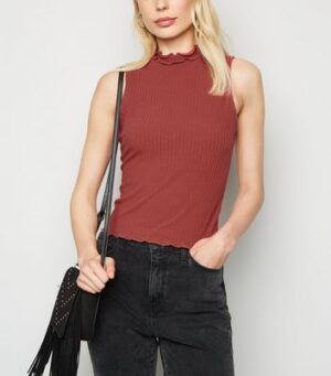 Dark Red Ribbed Frill High Neck Top New Look