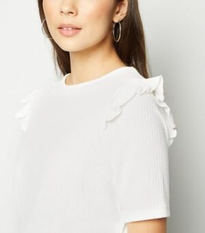 White Fine Knit Frill Trim Top New Look