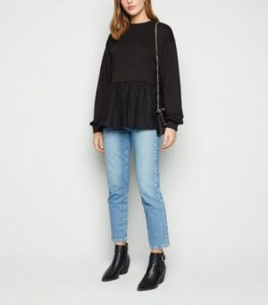 Influence Black Cotton Peplum Sweatshirt New Look