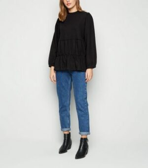 Influence Black Tiered Smock Sweatshirt New Look