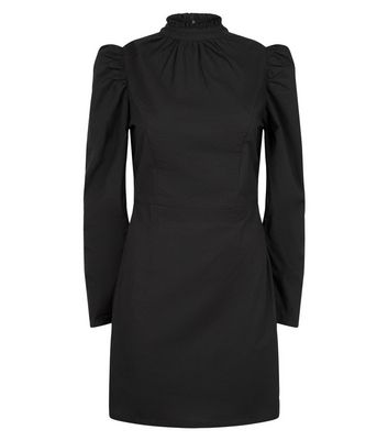 Black Poplin Puff Sleeve Dress New Look