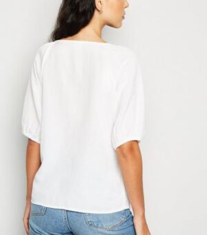JDY White Button Front Puff Sleeve Top New Look