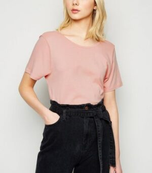 NA-KD Mid Pink Scoop Back T-Shirt New Look