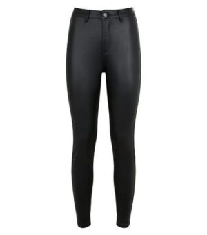 Urban Bliss Black Leather-Look Super Skinny Jeans New Look