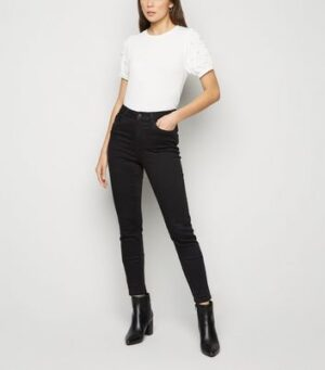White Faux Pearl Puff Sleeve T-Shirt New Look
