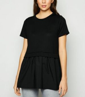 Black Fine Knit Tiered Back T-Shirt New Look