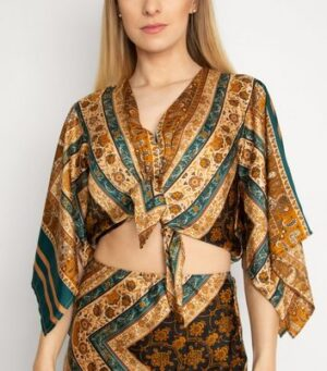 Another Look Brown Paisley Print Top New Look