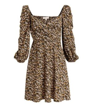 Another Look Black Ditsy Floral Dress New Look