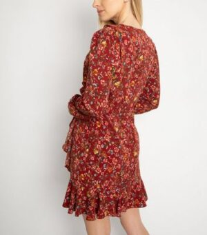 Another Look Red Floral Frill Wrap Dress New Look
