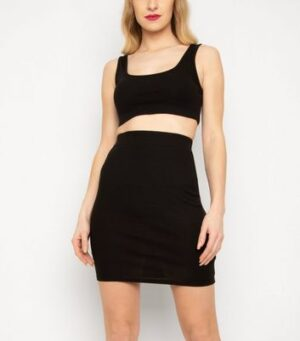 New Age Rebel Black Ribbed Tube Mini Skirt New Look