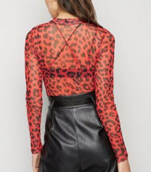 Red Leopard Print Mesh Bodysuit New Look