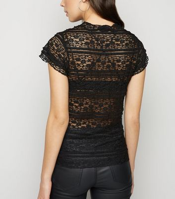 Black Frill Lace Short Sleeve Top New Look
