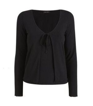 Black Ribbed Tie Front Cardigan and Cami Set New Look