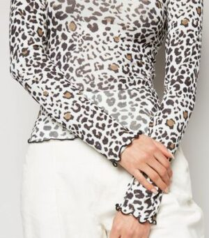 White Animal Print Mesh Trim Top New Look