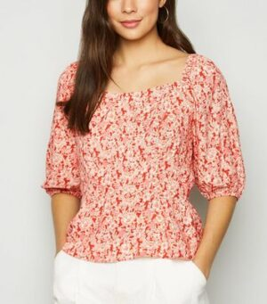 Red Floral Square Neck Peplum Top New Look