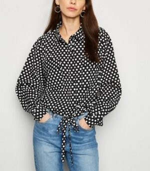 NA-KD Black Polka Dot Tie Front Blouse New Look