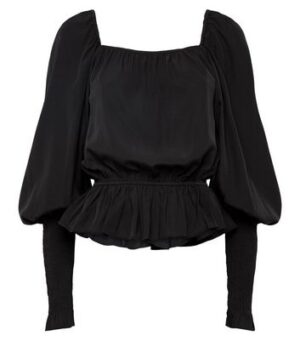 NA-KD Black Puff Sleeve Peplum Blouse New Look