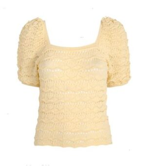 Pale Yellow Pointelle Square Neck Puff Sleeve Top New Look