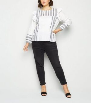 Vero Moda Curves White Tile Print Ruffle Blouse New Look