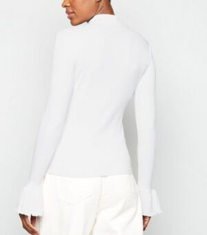 NA-KD White Ribbed Bell Sleeve Top New Look