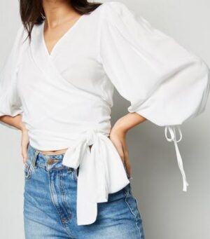 NA-KD White Puff Sleeve Wrap Blouse New Look