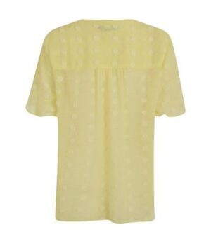 Pale Yellow Chiffon Spot Shirt New Look