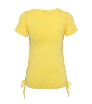 Pale Yellow Ruched Tie Side T-Shirt New Look