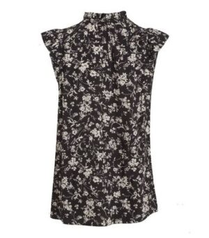 Tall Black Floral Frill Neck Blouse New Look