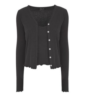 Black Ribbed Cardigan and Cami Set New Look