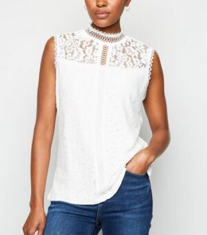Apricot Cream Lace Sleeveless Top New Look