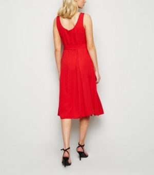 Apricot Red Plain Skater Dress New Look