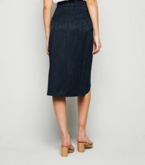 Apricot Navy Tiger Jacquard Wrap Skirt New Look