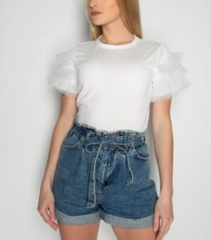 21st Mill White Mesh Ruffle Sleeve T-Shirt New Look
